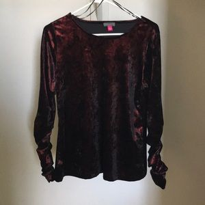 Vince Camuto Velvet Long Sleeve Blouse